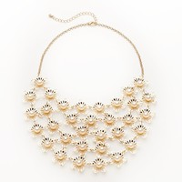 Candie's Gold Tone Simulated Pearl Flower Bib Necklace
