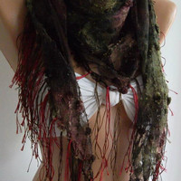 Burgundy  Green  / lace and Elegance Shawl / Scarf  with by womann