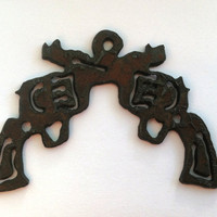 Rustic Recycled Metal Pistol / Crossed Guns by DelilahBadapple