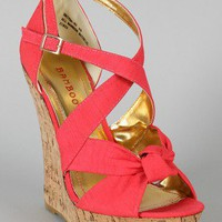 Bamboo Driven-83 Knotted Open Toe Wedge