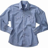Wrangler Men's Cowboy Cut Work Western Long Sleeve Shirt, Chambray Blue