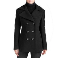 Jessie G. Women&#x27;s Fit &amp; Flare Wool Blend Pea Coat in Pecan