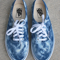 Navy Bleach Washed Vans Authentic