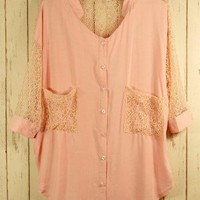 Best Lace Forward Shirt in Pink - sale - Retro, Indie and Unique Fashion