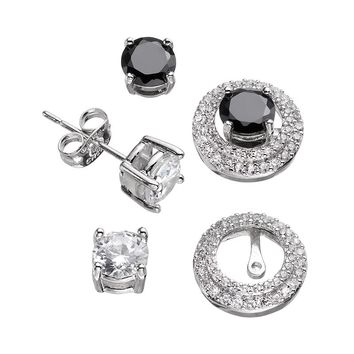 Silver-Plated Cubic Zirconia Interchangeable Tiered Halo Jacket & Stud Earring Set