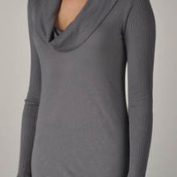 Splendid Very Light Jersey Ribbed Cowl Neck Tee (MJ5998)