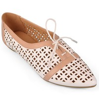 Journee Collection White Object Cutout Oxford Shoes - Women