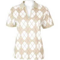 Misses Coral Bay Golf Short Sleeve Argyle Polo Shirt