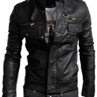 Kattee® Men's Stand Collar Multi Pocket High Quality PU Leather Motorcycle Jacket