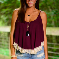 Off Sides Crop Top, Maroon