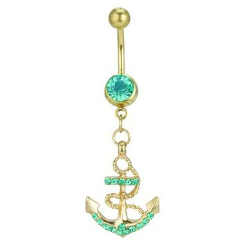 Women's Supreme Jewelry™ Curved Barbell Belly Ring with Stones - Gold/Aqua