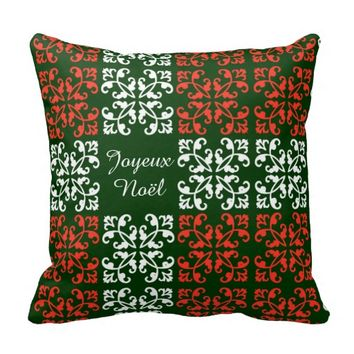 Christmas Pillow, Joyeux Noël, Red Green & White