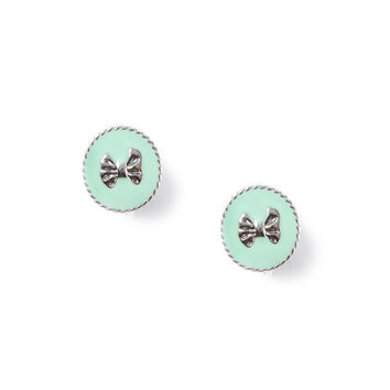 Bow Button Clip On Stud Earrings