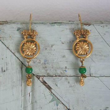vintage earrings / made in india / gold tone / jade green bead / dangling / indian jewelry