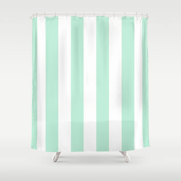 Stripe Vertical Mint Green Shower Curtain by BeautifulHomes | Society6