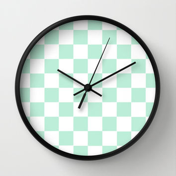 Checkers Square Mint Green Wall Clock by BeautifulHomes | Society6