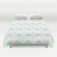 Tribal Triangles Mint Green Duvet Cover by BeautifulHomes | Society6