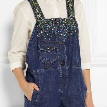 Miu Miu | Embellished denim playsuit | NET-A-PORTER.COM