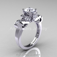 Classic 14K White Gold 1.0 Ct White Sapphire Diamond Solitaire Engagement Ring R323-14KWGDWS