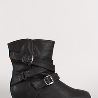 Wild Diva Lounge Candies-133 Buckle Mid Calf Boot