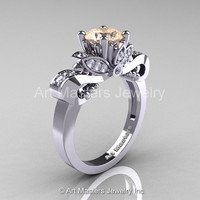 Classic 950 Platinum 1.0 Ct Champagne and White Diamond Solitaire Engagement Ring R323-PLATDCHD