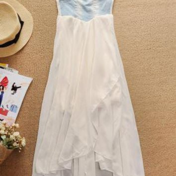 Off-white Strapless Dress - Denim Strapless High Low Chiffon | UsTrendy