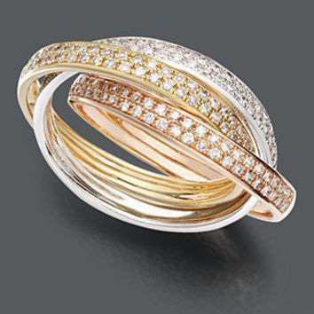Effy Collection Diamond Ring, 14k Gold Tri Tone Diamond Three Band (1/2 ct. t.w.) - Rings - Jewelry & Watches - Macy's