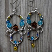 Turquoise, Brown, Green, and Yellow Sterling Silver Bubbles
