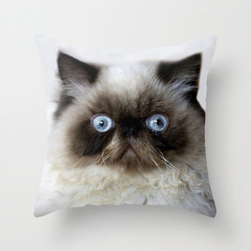 Funny Ragdoll Cat Throw Pillow by Erika Kaisersot | Society6