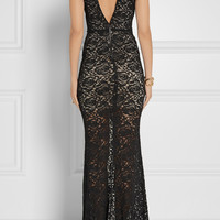 Alice + Olivia | Mia stretch-cotton blend lace maxi dress | NET-A-PORTER.COM