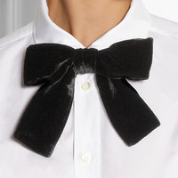 Saint Laurent | Velvet and leather bow-tie collar | NET-A-PORTER.COM