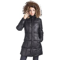 Jessie G. Women's Down Parka Coat with Raccoon Fur Trim in Black or Chocolate
