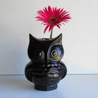 Ceramic Owl Vase Vintage Design Black by fruitflypie on Etsy