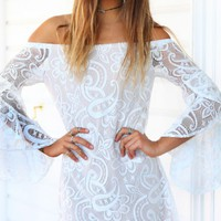 POLLYANNA DRESS - White lace off the shoulder dress