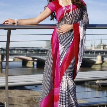 Buy Stylish Designer Fancy Printed Saree Designer wear at Shibori Fashion