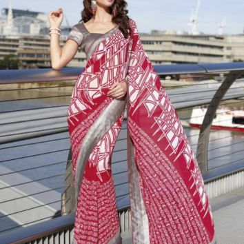 Buy Casual Party Wear Red Georgette Saree Designer wear at Shibori Fashion