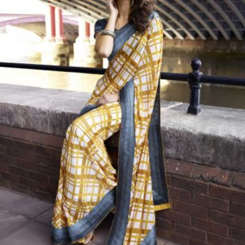 Buy Stylish Party Wear Yellow Georgette Saree Designer wear at Shibori Fashion