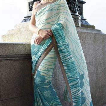 Buy Exclusive Fancy Designer Printed Saree Designer wear at Shibori Fashion