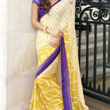 Buy Exclusive Party Wear Yellow Georgette Saree Designer wear at Shibori Fashion