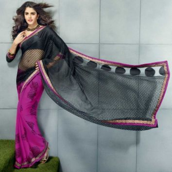 Buy Half Georgette Half Tissue Fabric Designer Saree, Designer Wear at Shibori Fashion