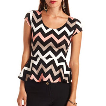 CAP SLEEVE CHEVRON PRINT PEPLUM TOP