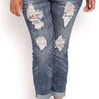 Plus Size Almost Famous Rolled Skinny Jean with Heavy Destruction