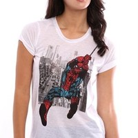 Short Sleeve High Low Tee with Spiderman City Screen