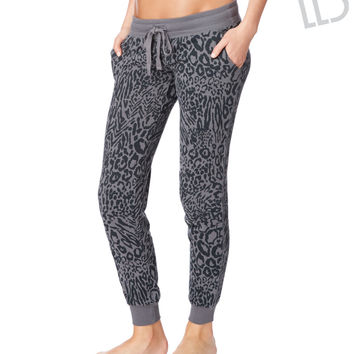 LLD Animal Print Cinched Sweat Pants