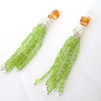 Peridot tassel earrings, peridot and citrine art deco fine jewelry gift for her