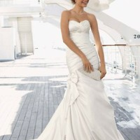 David's Bridal Wedding Dress: Satin Fit and Flare Gown with Bow Detail Style V3204
