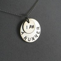 STERLING SILVER I AM A RUNNER - Sterling Silver pendants on a 16 inch sterling silver ball chain