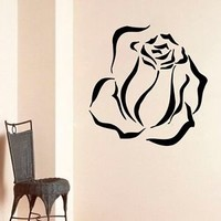 WALL VINYL STICKER  DECALS ART MURAL DRAWN CLOSED ROSE  DA155