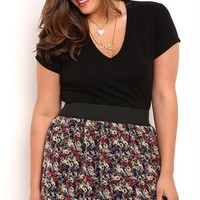 Plus Size Floral Print Chiffon Mini Skirt with Elastic Waist