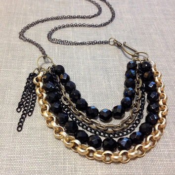 mixed metal layered chain necklace // black and gold necklace // chain bib necklace // statement necklace // multi strand chain necklace